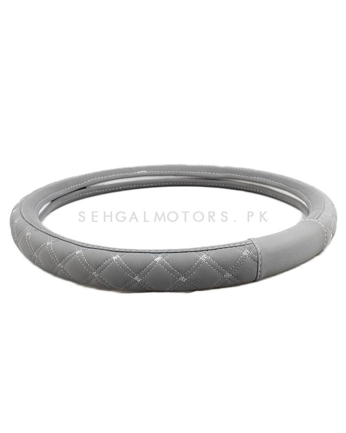 Grey X Embroidered Steering Cover - SC 2030 | Car Steering Wheel Cover | Auto Steering Wheel Cover | Anti Slip Wheel Cover | Non Slip Wheel Cover-SehgalMotors.Pk