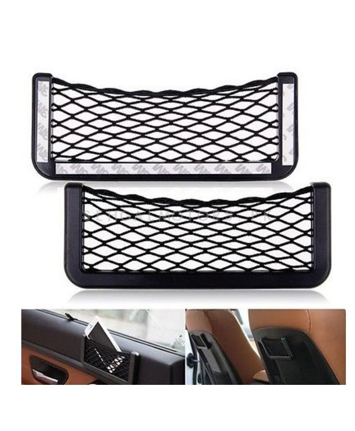 Car Net String Box Side Pocket Organizer Bags Baskets Mobile Phone Holder Large-SehgalMotors.Pk