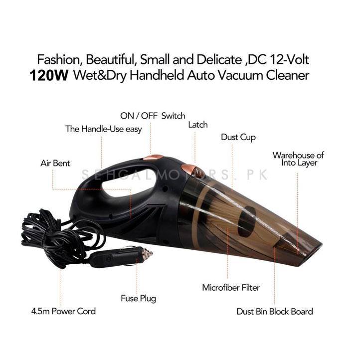 Maximus 120W Wet & Dry Car Vacuum Cleaner | Remove Dust | Portable Handheld | Interior Cleaning Gadget-SehgalMotors.Pk