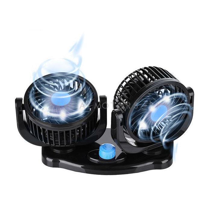 Rotatable Dual Speed Car Electric Fan | Car Double Fan for Dashboard | Universal Dual Fan 12v 2 Speed-SehgalMotors.Pk