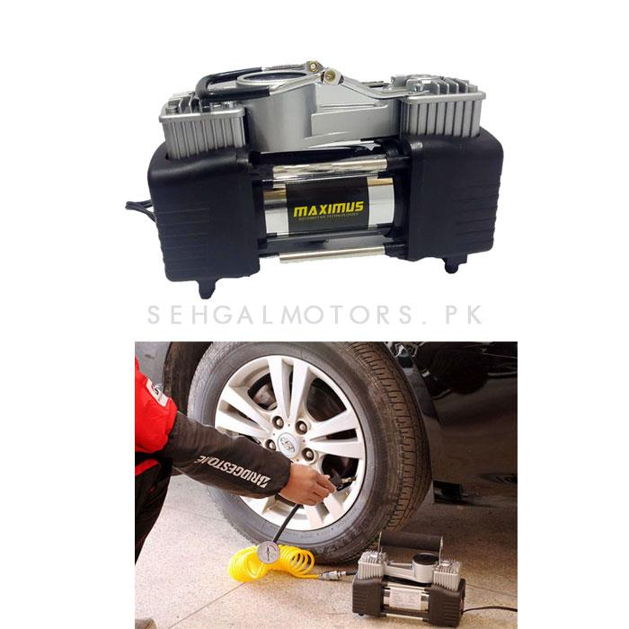 Maximus Double Cylinder Professional Air Compressor with Tool Kit Black | Tire / Tyre High Pressure Inflator-SehgalMotors.Pk