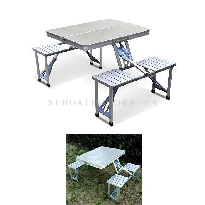 Portable Picnic Travel Table and Chair Silver-SehgalMotors.Pk