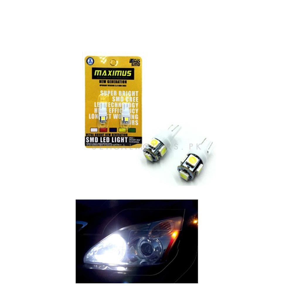 Maximus SMD 5 Parking Light White - Pair | Led Light Bulb For Parking | SMD Car I Exterior Lamps Parking Lights Car Accessories-SehgalMotors.Pk