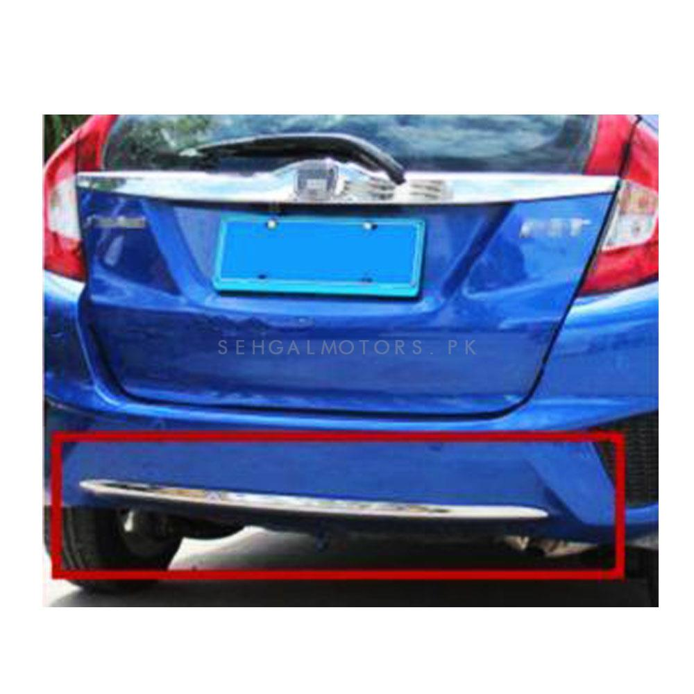 Honda Fit Back Bumper Chrome - Model 2013-2018 | Bumper Chrome Trim | Car Stying Body Cover Protection Bumper Chrome Trim Rear Back Tail Bottom Hoods Panel-SehgalMotors.Pk