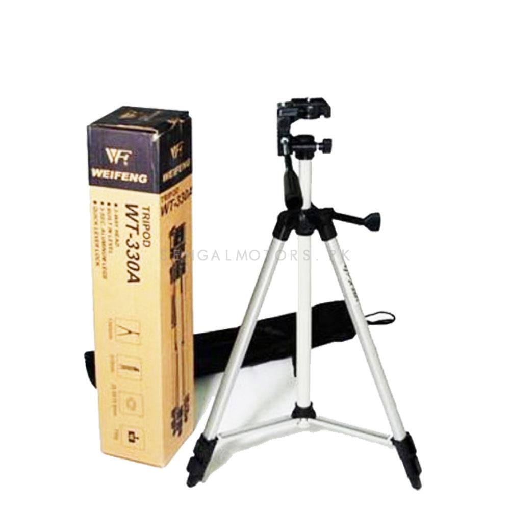 Tripod Camera Stand - 330A | Tripod Sets For Phone Stand Holder Camera Tripod & Ball Head & Phone Clip Carry Bag-SehgalMotors.Pk