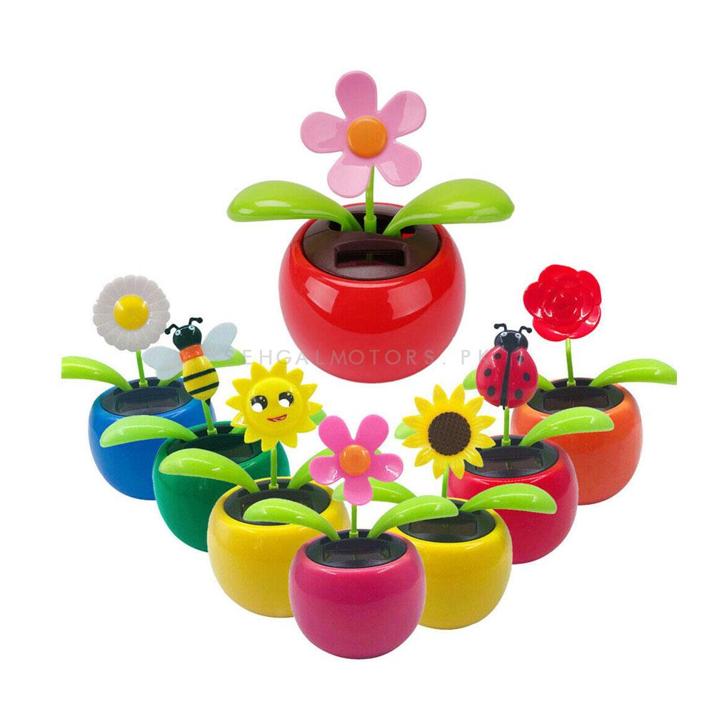 Solar Powered Moving Flower Car Dashboard Decor Each - Multi-SehgalMotors.Pk