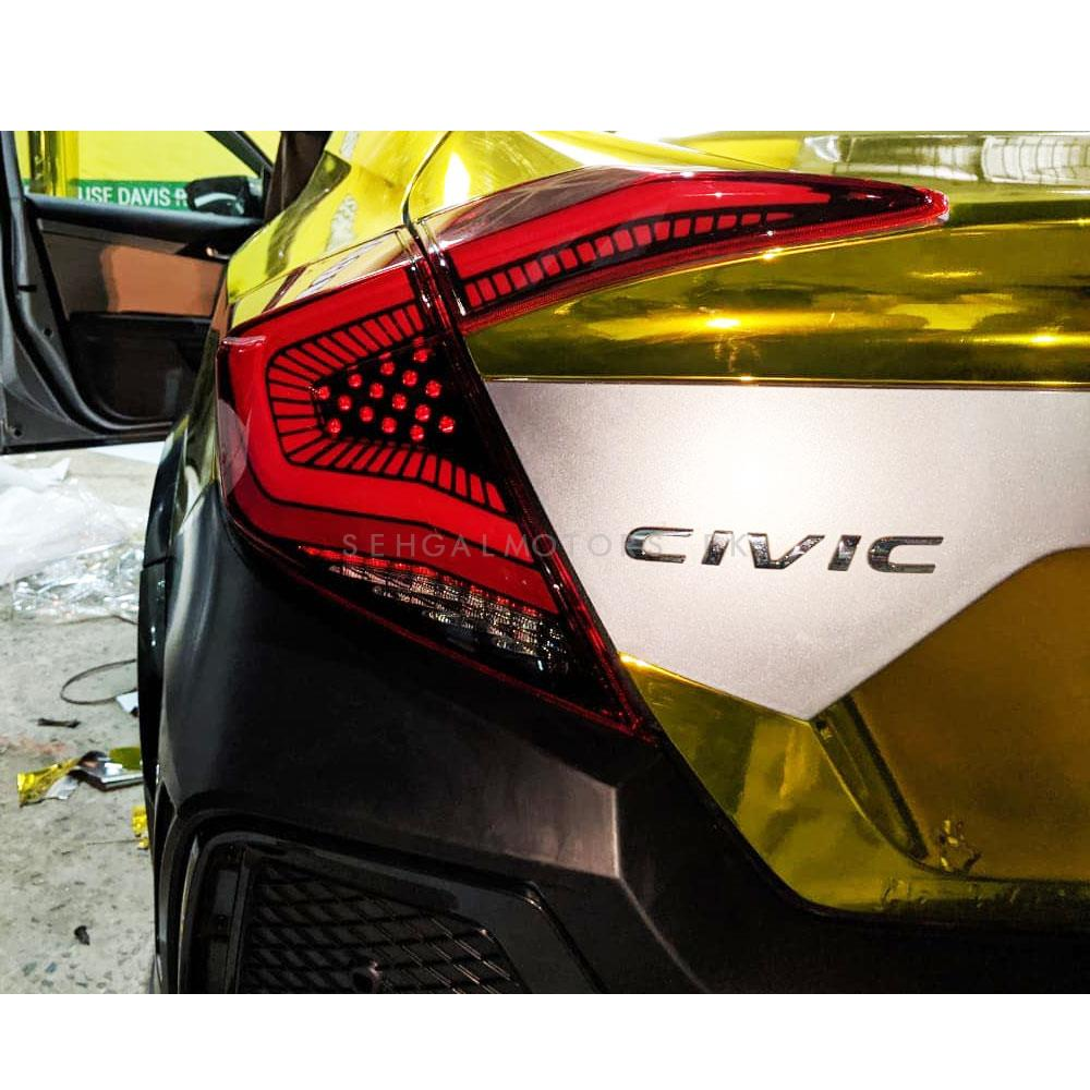 Honda Civic Snake Style Lava Back Lamps / Back Lights Smoke- Model 2016-2020-SehgalMotors.Pk