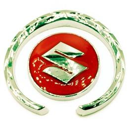 Suzuki Metal Badge Red Chrome   Emblem   Decal   Monogram   Logo-SehgalMotors.Pk