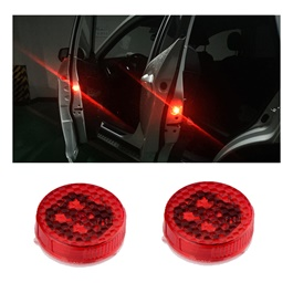 Tesla Style Wireless Door Warning Lights – Pair | Universal LED Car Opening Door Safety Warning Anti-collision Lights Magnetic Sensor Strobe Flashing Alarm Lights Parking Lamp-SehgalMotors.Pk