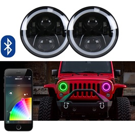 RGB Jeep LED Headlights / Head Lamps Round Shape with Bluetooth - 7 Inches | Mobile App Operated-SehgalMotors.Pk