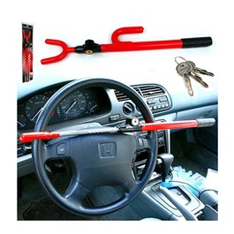 Car Security Long Steering Wheel Lock Red | Auto Security Steering Wheel Lock Car Anti Theft Device Extra Secure With Tough-Steel Construction | Universal Car Lock Stainless Steel Steering Wheel Locks-SehgalMotors.Pk