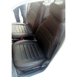 Suzuki Mehran Seat Covers Black with Red Stitching in Lines-SehgalMotors.Pk