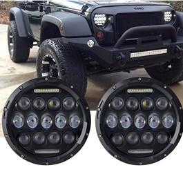 Wrangler Jeep Headlights / Head Lamps Black Body - 7 Inches-SehgalMotors.Pk