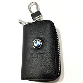 BMW Zipper Leather Key Chain / Key Ring Pouch | Leather Car Key Wallets Keys Organizer | Keychain Covers Zipper Key Case Bag | Zipper Door Key Chain Organizer Key Pouch Case-SehgalMotors.Pk