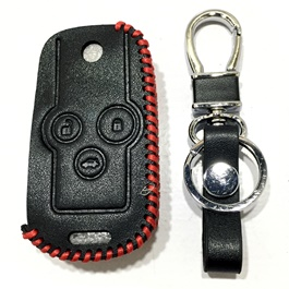 Honda Civic Leather Key Cover 3 Button with Key Chain / Key Ring - Model 2011-2013-SehgalMotors.Pk