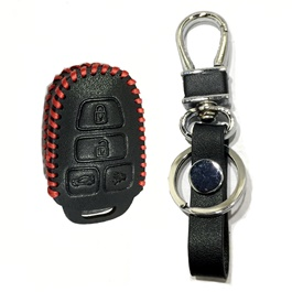 Toyota Corolla Leather Key Cover 4 Button with Key Chain / Key Ring- Model 2015-2016