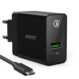 Anker PowerPort 1 With Micro cables Quick Mobile Charger 3.0-SehgalMotors.Pk