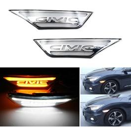 Honda Civic Side Fender Marker Lamp LED Chrome- Model 2016-2020-SehgalMotors.Pk