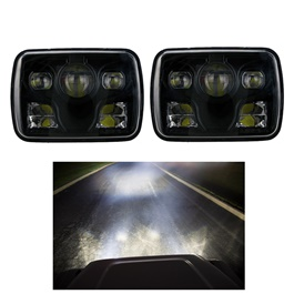Square Jeep Headlights / Head Lamps Black -  5×7 inches-SehgalMotors.Pk