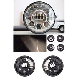 Jeep Headlights / Head Lamps White Black DRL - 5.75 inches-SehgalMotors.Pk