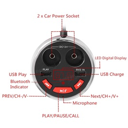 USB Bluetooth Cup Mobile Charger with MP3 Player-SehgalMotors.Pk