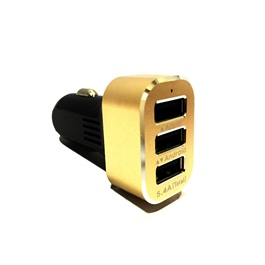3 USB Car Mobile Charger Black and Golden - 5.4A-SehgalMotors.Pk