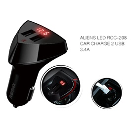 Remax Aliens LED Dual USB Car Mobile Charger with Voltage Display - 3.4A-SehgalMotors.Pk