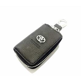 Toyota Zipper Leather Key Chain / Key Ring Pouch | Leather Car Key Wallets Keys Organizer | Keychain Covers Zipper Key Case Bag | Zipper Door Key Chain Organizer Key Pouch Case-SehgalMotors.Pk