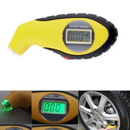 Digital Tire / Tyre Valve Gauge - Yellow | Digital Tire / Tyre Valve Air Pressure Monitor Gauge