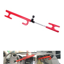 Multiple Style Lock For Steering And Clutch | Heavy Duty Retractable Car Universal Brake Pedal Steering Wheel Lock Clutch With 3 Keys Protection Anti-Corrosion Anti Theft-SehgalMotors.Pk