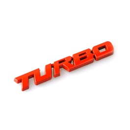 Turbo Metal Logo   Emblem   Decal   Monogram - Red-SehgalMotors.Pk