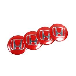 Honda Wheelcap Logos - Red   Wheel Center Cap   Wheel Logo   Wheel Center Hub Caps   Wheel Dust Proof Covers Badge logo-SehgalMotors.Pk