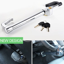 Car Security Steel Lock For Steering To Clutch | Heavy Duty Retractable Car Universal Brake Pedal Steering Wheel Lock Clutch With 3 Keys Protection Anti-Corrosion Anti Theft-SehgalMotors.Pk