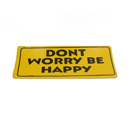 Dont Worry Be Happy Warning Sticker Yellow -SehgalMotors.Pk