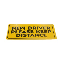 New Driver Please Keep Distance Warning Sticker Yellow-SehgalMotors.Pk