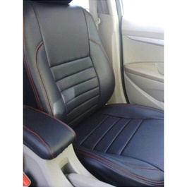 Toyota Corolla Seat Covers BlackStraight Lines with Red Stitching - Model 2002-2008-SehgalMotors.Pk