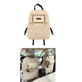 Back Seat Organizer Car Caddy in Leather Beige | Car Back Seat Organizer Pockets Universal Car Seat Storage Pocket Cars Back Seat Bag Organizer Auto Accessories-SehgalMotors.Pk