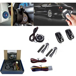 Engine Start Stop System  | Car Engine Push Start Button Keyless Entry System Go Push Button Engine Start Stop Immobilizer-SehgalMotors.Pk