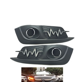 Honda Civic Fog Lamps / Fog Lights DRL Cover Heartbeat Style - Model 2016-2020-SehgalMotors.Pk