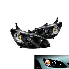 Honda Civic Headlight / Head Lamp Projection Black - Model 2004-2006-SehgalMotors.Pk