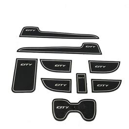 Honda City PVC Interior Mats White - 2008-2017 |  Car Door Groove Mat Interior Cup Door Pad Gate Slot Mat Stickers Accessories | Rubber Car Anti Slip Mat Non-Slip Covers Interior Door Mats Cup Pad-SehgalMotors.Pk