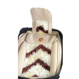 Fur Style Seat Covers White and Brown-SehgalMotors.Pk