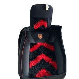 Fur Style Seat Covers Red and Black-SehgalMotors.Pk
