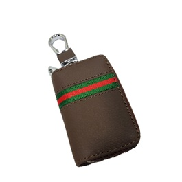 Universal Zipper Leather Key Cover Brown Pouch | Leather Car Key Wallets Keys Organizer | Keychain Covers Zipper Key Case Bag | Zipper Door Key Chain Organizer Key Pouch Case-SehgalMotors.Pk
