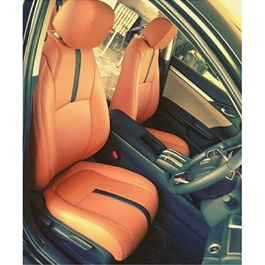 Japanese Leather Type Rexine Seat Covers Orange with Black Strips-SehgalMotors.Pk