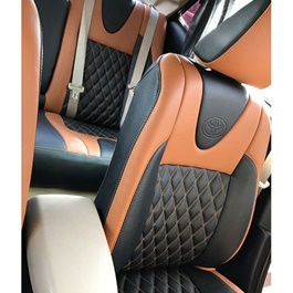 Japanese Leather Type Rexine Seat Covers Black And Orange Style-SehgalMotors.Pk