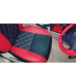 Japanese Rexine Extra Foaming Seat Covers Black with Red Stitched-SehgalMotors.Pk