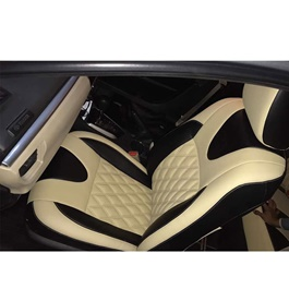 Japanese Leather Type Rexine Seat Covers Black and Beige Style B-SehgalMotors.Pk