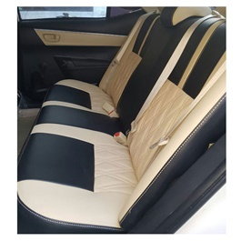 Japanese Rexine Extra Foaming Seat Covers Black And Beige-SehgalMotors.Pk