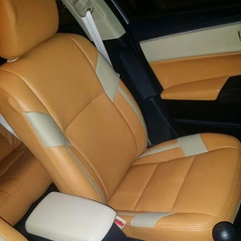 Japanese Leather Type Rexine Seat Covers Mustard With Cream color-SehgalMotors.Pk
